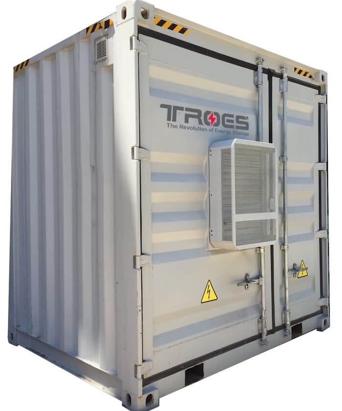 An image of TROES' container battery energy storage system
