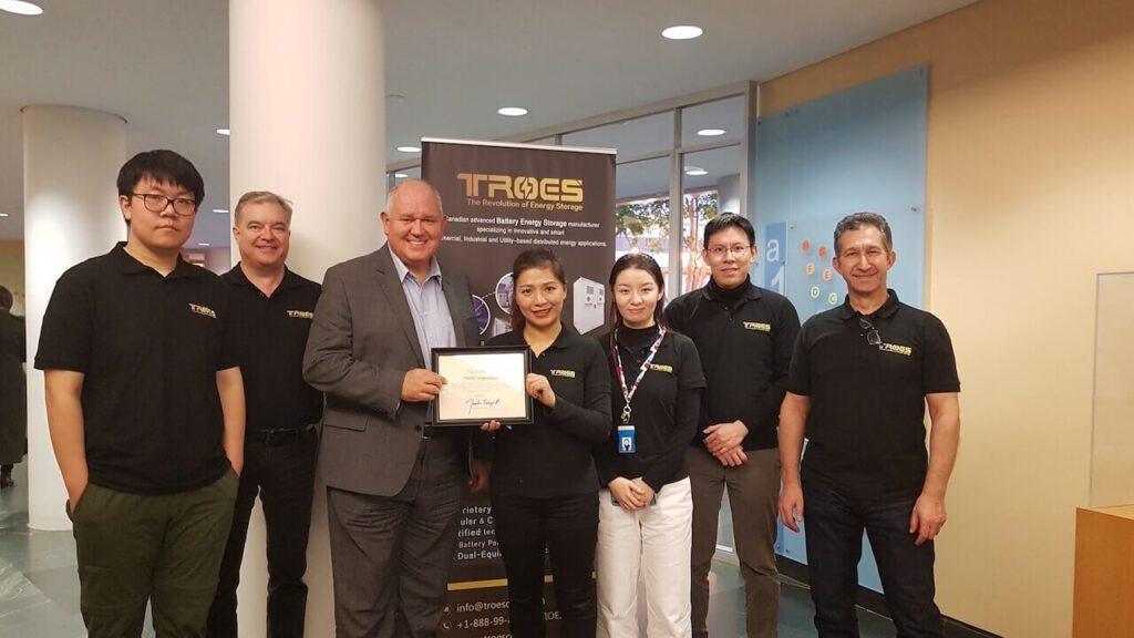 Mayor of Markham, Frank Scarpitti posing with the TROES team