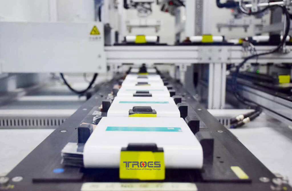 TROES' battery cell technology being produced on an assembly line