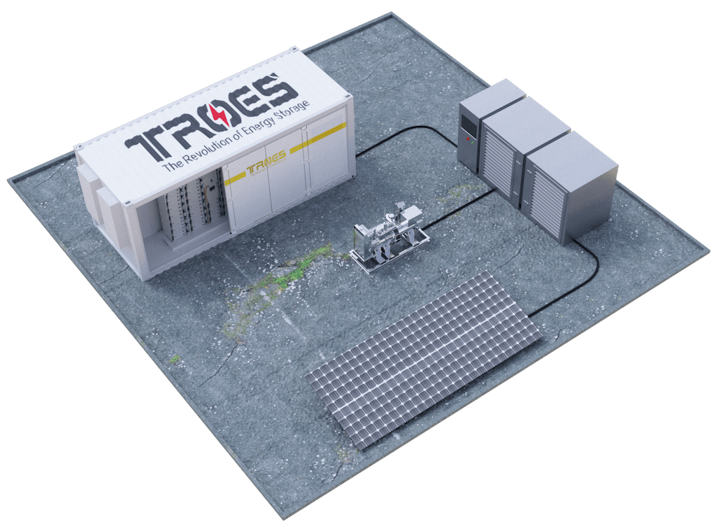 TROES render of a BESS container being used off-grid for a community