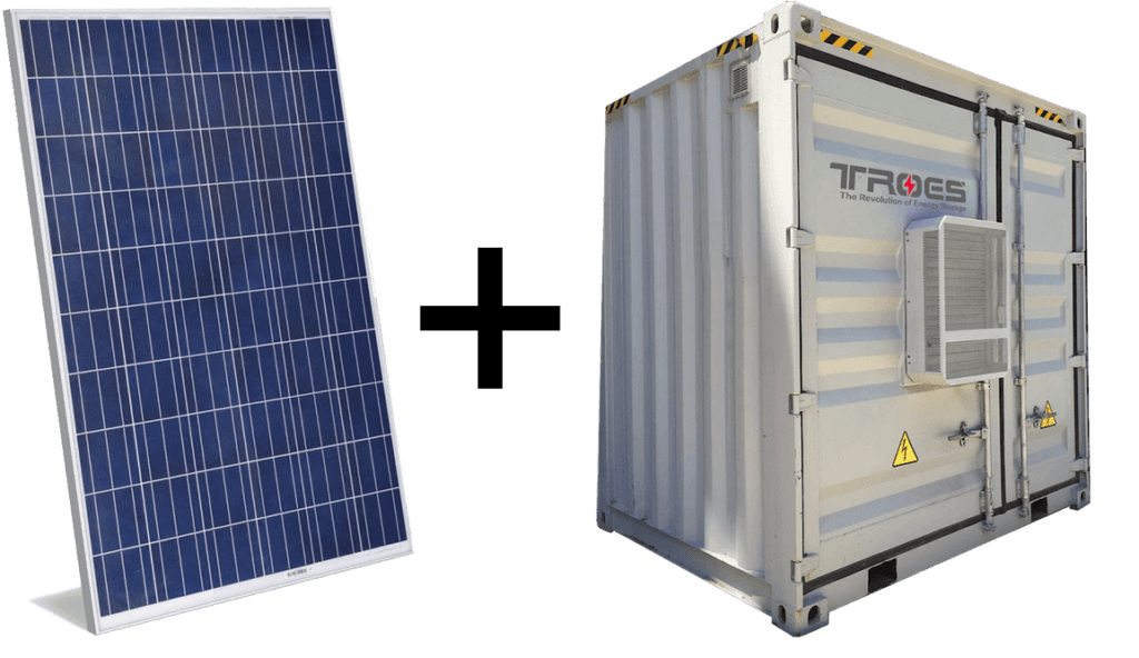 An image of TROES cabinet with solar used in university use case