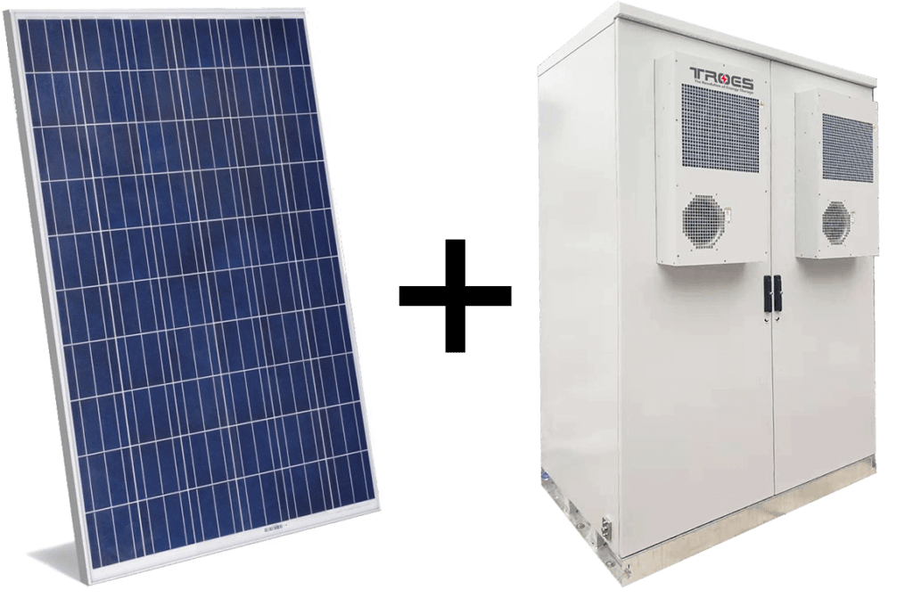 An image of TROES Outdoor Cabinet with a solar panel used in the pulp and paper, mining site, gas station, commercial building, energy arbitrage use case