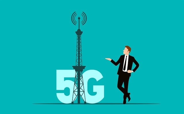 animated 5G tower next to a person