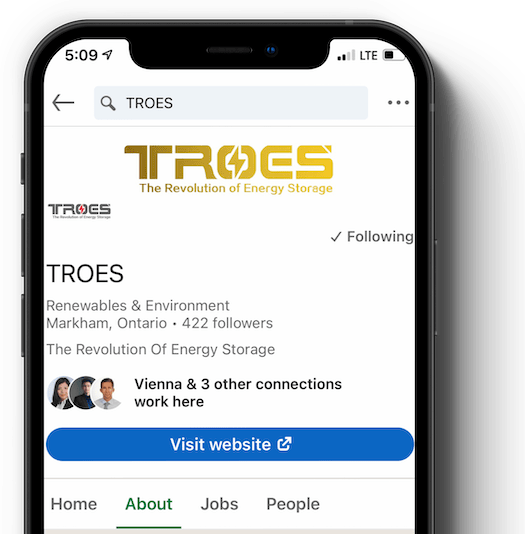 An iphone on TROES' LinkedIn page